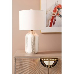 Ceramic Braid Table Lamp By Anthropologie in White