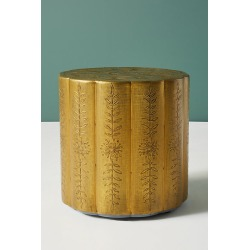 Embossed Scalloped Side Table By Anthropologie in Brown