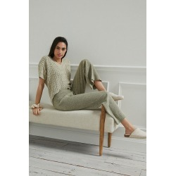 Cable-Knit Sweater Lounge Set By Current Air in Beige Size XL found on MODAPINS from Anthropologie for USD $158.00