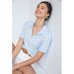 Maeve Springtime Polo Top By Maeve in Blue Size L found on Bargain Bro from Anthropologie for USD $51.68