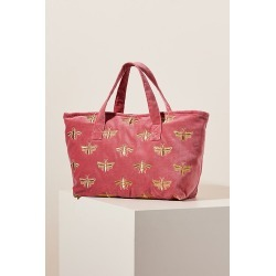 Bumblebee Pink Velvet Tote Bag By Elizabeth Scarlett in Pink found on MODAPINS from Anthropologie for USD $58.00