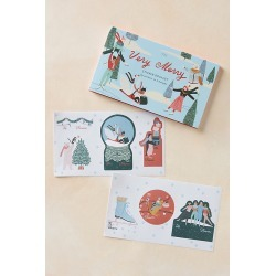 George & Viv Very Merry Gift Tag Sticker Book By George & Viv in Blue found on Bargain Bro Philippines from Anthropologie for $14.00