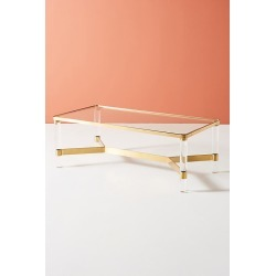 Oscarine Lucite Coffee Table, Rectangle By Anthropologie in Gold Size S