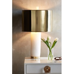 Frosted Marble Table Lamp By Anthropologie in White