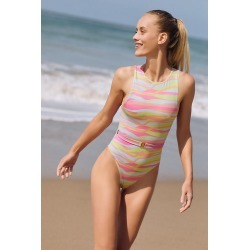 Dreamy High-Neck One-Piece Swimsuit By Boamar in Pink Size XS found on Bargain Bro from Anthropologie for USD $118.56