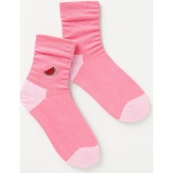 Embroidered Watermelon Crew Socks By Happy Socks in Pink