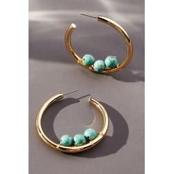 Embellished Hoop Earrings By Anthropologie in Blue found on Bargain Bro from Anthropologie for USD $36.48