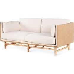 SW Sofa Two Seater [Fabric A Cushions + Leather A Frame]