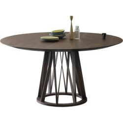 Acco Round Dining Table [Small - Walnut Base + Glass Top]