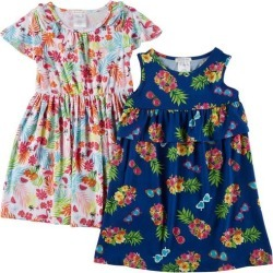 Forever Me Little Girls 2 pk Tropical Floral Dresses