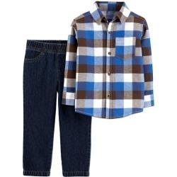 Carters Baby Boys 2-pc. Big Plaid Button Down Pants Set