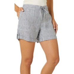 Per Se Womens Striped Roll Cuff Linen Drawstring Shorts