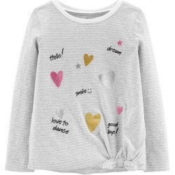 Carters Little Girls Striped Hearts Tie Front T-Shirt