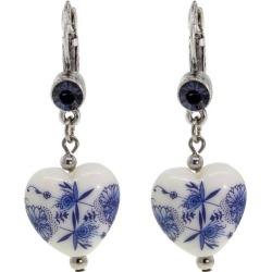 1928 Jewelry Blue Willow Heart Drop Earrings