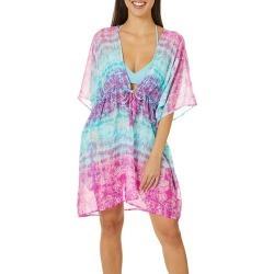 Pacific Beach Womens Tie Dye Mandala Kimono Dress Cover Up