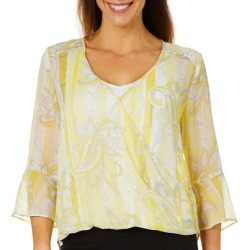 Hearts of Palm Petite Sunny Side Up Paisley Faux-Wrap Top