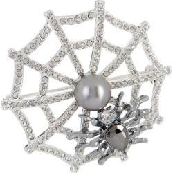 Napier Rhinestone & Faux Pearl Spider Web Pin