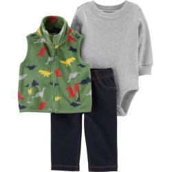 Carters Baby Boys 3-pc. Dino Vest & Bodysuit Set