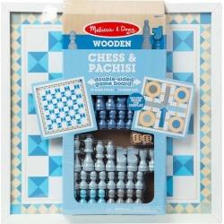 Melissa & Doug Wooden Blue Chess & Pachisi Game Set