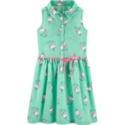 Carters Little Girls Unicorn Print Sleeveless Shirt Dress