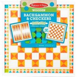 Melissa & Doug Wooden Backgammon & Checkers Game Set