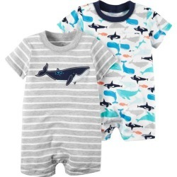 Carters Baby Boys 2-pk. Stripe Whale Rompers