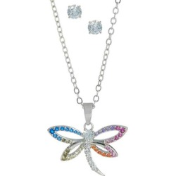 Bay Studio CZ Stud & Dragonfly Necklace Set found on Bargain Bro India from BeallsFlorida for $25.00