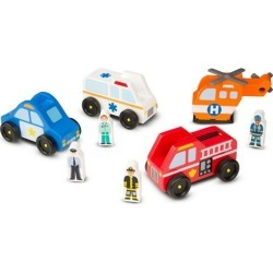 Melissa & Doug Wooden Emergency Vehicle Set