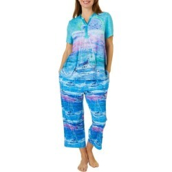 Leoma Lovegrove Womens 2-Pc.Super Moon Henley Pajama Set found on Bargain Bro India from BeallsFlorida for $50.00