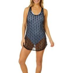 Miken Womens Crochet Racerback Tank Dress Swim Cover Up