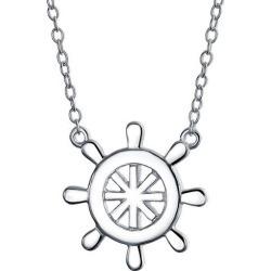 BLING Jewelry Nautical Ship Wheel Pendant Necklace