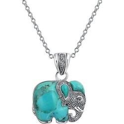 BLING Jewelry Turquoise Elephant Pendant Necklace