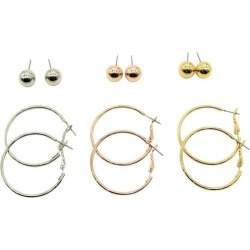 Bay Studio Tri Tone Ball & Hoop 6Pr Earring Set