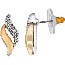 Napier Small Two Tone Textured Stud Earrings
