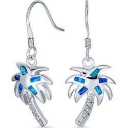 BLING Jewelry Blue Opal Palm Tree Dangle Earrings