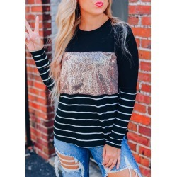 Striped Sequined Splicing T-Shirt Tee - Black