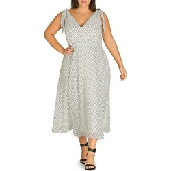 City Chic Plus Alika Polka-Dot Crossover V-Neck Midi Dress found on MODAPINS from bloomingdales.com for USD $99.00