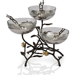 Michael Aram Pomegranate Triple Glass Bowl Stand & Serving Spoons
