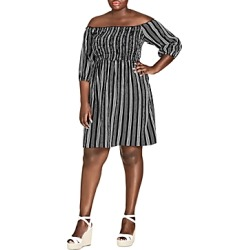 City Chic Plus Stripe Play Off-the-Shoulder Dress found on Bargain Bro Philippines from Bloomingdales Canada for $93.76