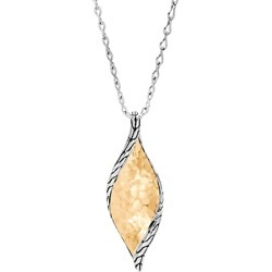 John Hardy 18K Yellow Gold & Sterling Silver Classic Chain Hammered Wave Pendant Necklace, 18