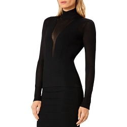 Herve Leger Mock Neck Sheer Detail Top found on Bargain Bro from Bloomingdales Canada for USD $219.93