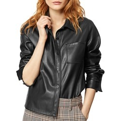 Habitual Taylor Cropped Faux-Leather Shirt