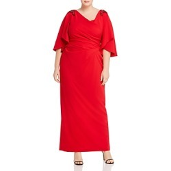 Adrianna Papell Plus Embellished Ruched Gown