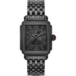 Michele Black Deco Watch, 33mm x 35mm found on MODAPINS from bloomingdales.com for USD $2195.00