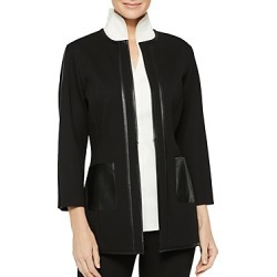 Misook Faux-Leather-Trim Ponte Jacket found on Bargain Bro Philippines from bloomingdales.com for $388.00