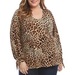 Karen Kane Plus Leopard Print Tie-Sleeve Top found on Bargain Bro UK from Bloomingdales UK
