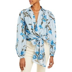 Alberta Ferretti Floral Print Habotai Wrap Blouse found on MODAPINS from bloomingdales.com for USD $950.00