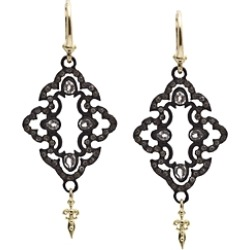 Armenta 18K Yellow Gold and Blackened Sterling Silver Old World Champagne Diamond and White Sapphire Scroll Drop Earrings found on Bargain Bro India from Bloomingdales Canada for $940.36