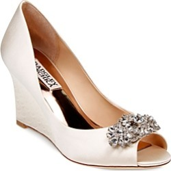 Badgley Mischka Dara Embellished Satin Peep Toe Wedge Pumps found on MODAPINS from bloomingdales.com for USD $225.00