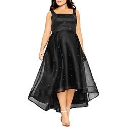 City Chic Plus Sleeveless Rhinestone-Accent Dress